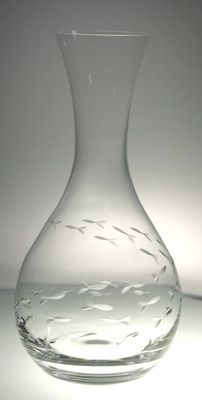 School of Fish Etched Carafe for my sea glass collection! Yes!