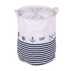 Nautical Linen Laundry Hamper in White and Blue, 20% discount @ PatPat Mom Baby Shopping App
