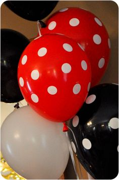 Mickey Mouse Party - I'd swap out the white balloon for a strong yellow one. tie it all in.