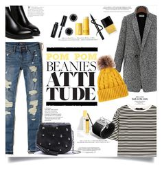 """""""Yellow Pom Pom Beanie"""" by elimarga ❤ liked on Polyvore featuring Hollister Co., TIBI, WithChic, 3ina, John Hardy, Marc Jacobs, Clinique, Butter London, H&M and Bobbi Brown Cosmetics"""