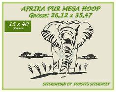 Stickmuster - Stickdatei / Stickmuster Afrika, Elefant,Mega Hoop - ein Designerstück von Forstis-Stickwelt bei DaWanda