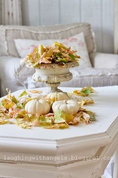 Old white chipped paint with white pumpkins and soft green leaves. Thanksgiving Table, Thanksgiving Decorations, Table Decorations, Soft Autumn, Autumn Home, Autumn Fair, White Pumpkins, Fall Pumpkins, Autumn Coffee