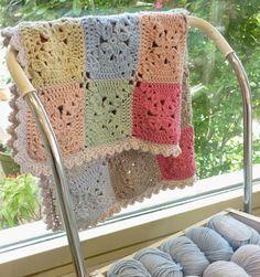 Crochet Baby Mittens Pretty baby blanket from Debbie Bliss Eco Baby Cotton @ Jolie Crochet Motifs, Crochet Blocks, Crochet Squares, Crochet Granny, Crochet Blanket Patterns, Crochet Stitches, Crochet Blankets, Granny Squares, Baby Blankets