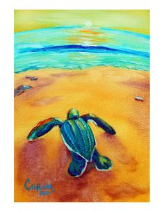 Baby Sea Turtle painting
