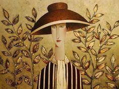 Isabelle's Autumn Hat, by Danny McBride Joe Cocker, Amedeo Modigliani, Giuseppe Zanotti, Arthur Rubinstein, Danny Mcbride, Romanticism Artists, Abstract Painters, Woman Painting, Portrait Art