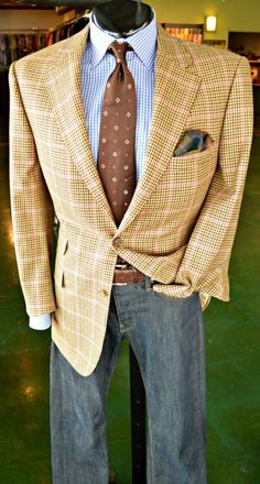 Shirt by Kiton (Medium, $98.98)  Tie by Kiton ($88.98)  Jeans by G-Star Raw (34, $48.98)  Belt by Eddie Bauer (34, $19.98)  Pocket Square ($24.98)  Sport Coat by Samuelsohn (43R, $348.98)