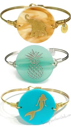 Wire Wrap Bangle | Choose from 50+ Acrylic Colors and Icons | Elephant  | Pineapple | Mermaid | www.SassySouthernGals.com