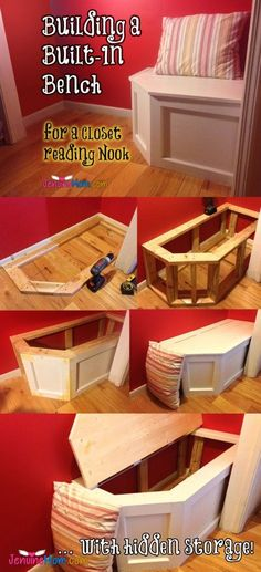 How to build a built-in bench in a closet to turn it into a reading nook .. with hidden storage! } JenuineMom.com