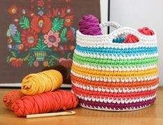 Rainbow Basket - Free Crochet Pattern