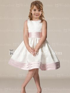 Satin sleeveless knee-length dress with pleated bands at waist and hem. Dress & Trim each available in 60 colors, shown in Light Ivory/Pink, Light Ivory/Coral, Light Ivory/Fuchsia, Light Ivory/Marine Blue, Light Ivory/Pool, Light Ivory/Sunshine and Light Ivory/Teal.$65.00