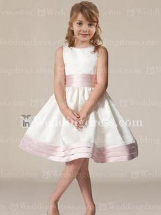 Formal ball gown flower girl dress with sash and bow fl192 funnies satin knee length flower girl dress fl057 mightylinksfo