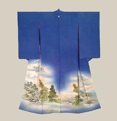 Painted Kimono, Taisho era (1912-1926). An unusual silk kimono for its large painted scenery on a rinzu background. The Kimono Gallery