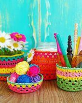 Ravelry: Jarzies pattern by Alia Bland Double Crochet, Single Crochet, Crochet Home, Free Crochet, Pots, Photo Tutorial, Yarn Needle, Crochet Patterns, Crochet Ideas