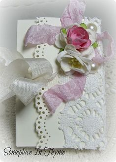 Handmade Box With Lace And Note Cards-handmade,roses,box,cards,envelopes,gift,paper,ribbon