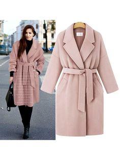 2d9be041ddd Women s Woolen Coat Long Sleeve Suit Collar Jacket Overcoat with Pocket
