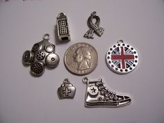Who's Your Favorite Doctor Charms for DIY jewelry or craft projects by GreenGamesJewelry, $14.99 - Police Box Telephone Booth, Scarf, London Union Jack, Star Tennis Shoe, Doctor Medical Bag, Gas mask - Great for projects about the doctor!