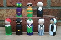 Hand-painted wooden Super Villain Peg Dolls from Wooly Llama