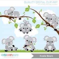 Koala Bears Clip Art / Digital Clipart Instant por MyClipArtStore