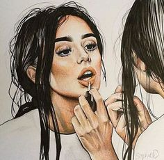 I like the concept of using a reflection while a girl puts on makeup it just seems like an interesting thing to draw/paint