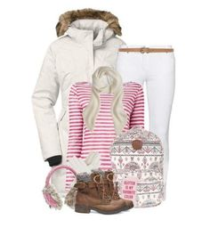 Girly Look With Striped Sweatshirt And Faux Fur Hooded White Jacket