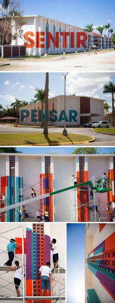 Boa Mistura, University of Isthmus, Panama City, Typographic Mural with students, Think/Feel, Pensar/Sentir, anamorphosis, typography, street art