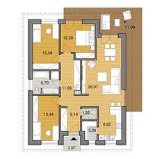 Projekt rodinného domu o ploche 105 m2