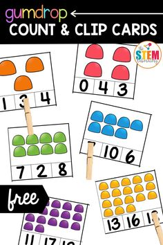 Our gumdrop count and clip cards are a perfect holiday math activity for your Pre-K or Kindergarten kids. This math activity will help them learn to count to 20!