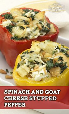 Spinach and Goat Cheese Stuffed Pepper: Your whole family will feel cozy after this warm, delectable meal made of bell peppers, onion, goat cheese, Parmesan cheese and New York Brand Garlic Knots.