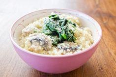 Receta: Quinotto con champiñones Oatmeal, Grains, Stuffed Mushrooms, Food And Drink, Veggies, Rice, Breakfast, Blog, Recipes