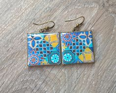 Mexican tile earrings Mexican tiles Mexican jewelry tile by XTory                                                                                                                                                                                 Mehr