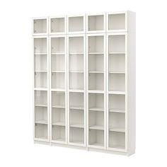 BILLY Kirjahylly + vitriiniovi - valkoinen  - IKEA