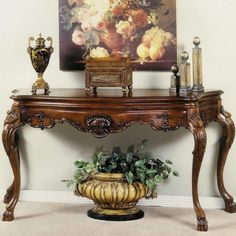 This Delano Console Table is constructed and finished with great effort to assure the quality of the product methods. Old World Furniture, Foyer Furniture, Luxury Furniture, Furniture Design, Tuscan Decorating, Hallway Decorating, Decorating Small Spaces, Entryway Decor, Home Decor Bedroom