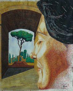 Portrait, 39 x cm, Gouache Korn, Gouache, Portrait, Painting, Idea Paint, Art Ideas, Headshot Photography, Men Portrait, Painting Art