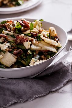 This lovely, Autumnul salad of lentils, crispy bacon, pears and Gorgonzola makes a great substantial lunch and is delicious when served with roast chicken for dinner. #recipe #food