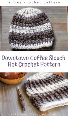 Find this easy downtown coffee slouch hat pattern at Salty Pearl Crochet. The simple post stitch cables make for a gorgeous textured crochet hat pattern. Plus, it only uses one skein of chunky yarn! Slouch Hat Crochet Pattern, Easy Crochet Hat Patterns, Chunky Crochet Hat, Beanie Pattern Free, One Skein Crochet, Crochet Hats For Boys, Crochet Cap, Chunky Yarn, Free Crochet