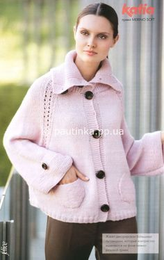 Розовой жакет | Вязание спицами, крючком, схемы вязания