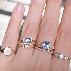Vale Jewelry Adelaide Ring and PS Ring with blue sapphires
