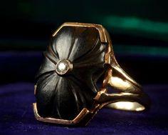 1930s Floral Signet Ring, Black Glass