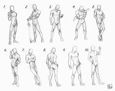 jacqsrefsandthings: Human Proportion Male poses chart by *Aomori