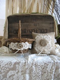 Flower Girl Basket Ring Bearer Pillow Set Shabby Chic Wedding Rustic Wedding. $60.00, via Etsy.