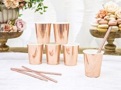 Paper cups, rose gold, hold up to 220 Pack of 6 All other decorations are for photo purpose only. By purchasing this listing, you agree that you have carefully read all above information, as well as our shop & shipping policies.