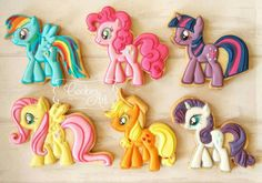 "My Little Pony cookies, BEAUTIFULLY executed by ""CookiesArtByShirlyn"", posted on Cookie Connection."