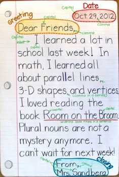 Grade Smarty-Arties taught by the Groovy Grandma!: Friendly Letter Anchor Chart I like letters between each student and their parents each week. Writing Strategies, Writing Lessons, Teaching Writing, Writing Activities, Science Writing, Writing Ideas, Expository Writing, Informational Writing, Writing Process