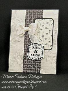Miriam Castanho Bollinger, #mstampinwithyou, stampin up, demonstrator, mm, wedding card, timeless elegance dsp, heat embossing, label love, artisan label punch, su