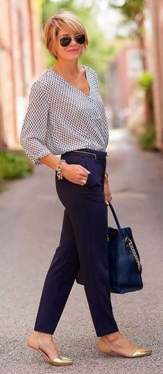 Business Casual Outfits For Women Over 40 #FashionforWomenOver40 #over50fashion2017
