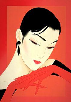 Kai Fine Art is an art website, shows painting and illustration works all over the world. Japanese Illustration, Art Et Illustration, People Illustration, Korean Art, Asian Art, Japanese Painting, Japanese Art, Art Geisha, Tamara Lempicka