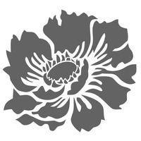 Large Anemone Flower Garden Designer Wall Stencil Home Kids Decor - Thumbnail 1