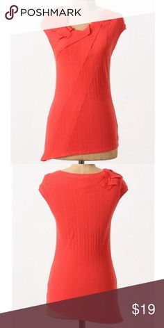 """Anthropologie One.September """"Ruffled Ribbed Tee"""" One.September Ruffled Ribbed tee. Origami-inspired pleats at the neckline. Asymmetric hem. Cotton/spandex. Anthropologie Tops"""