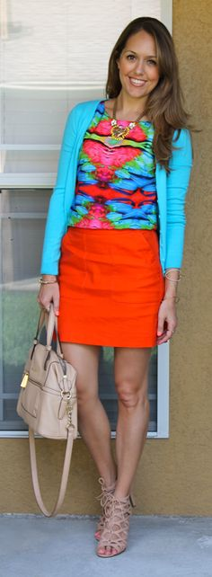 Colorful outfit idea. with or without the sweater... Cute!