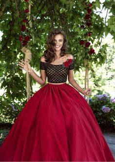 Tarik Ediz 93102 Off the shoulder two piece ball gown
